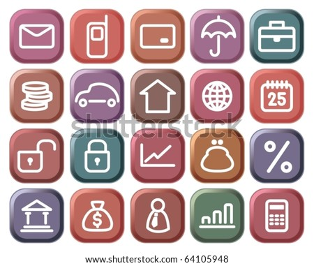 Buttons with financial and bank symbols - stock vector
