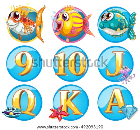 buttons with fish and letters illustration