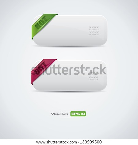 Buttons with green and purple hot labels - stock vector