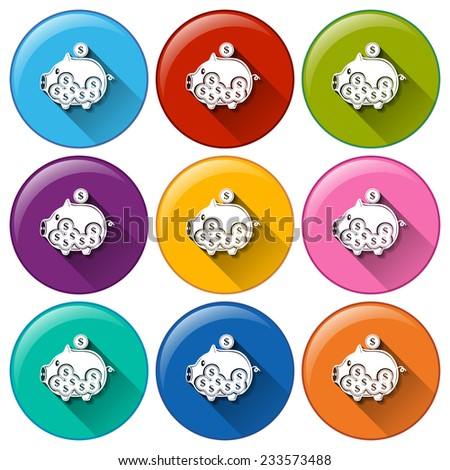 Buttons with piggy banks on a white background  - stock vector