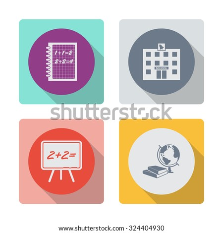 Buttons with shadow. Exercise book vector icon. School building vector icon. Blackboard vector icon. Books and globe vector icon. Education symbol. - stock vector