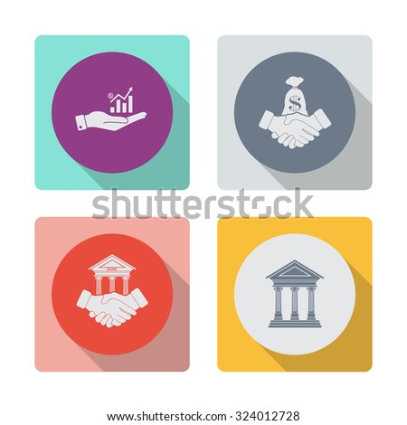 Buttons with shadow. Hand and profit vector icon. Financial agreement vector icon. Banking agreement vector icon. Bank icon with the building facade with three pillars. Vector. - stock vector