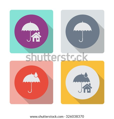Buttons with shadow. House with umbrella vector icon. Real estate symbol. Umbrella vector icon. Rain protection sign icon. - stock vector