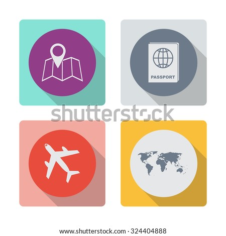 Buttons with shadow. Pin on the map vector icon. Passport vector icon. Airplane vector icon. World map vector icon. - stock vector