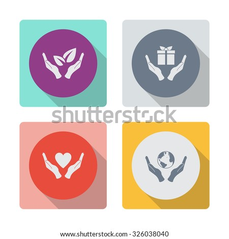 Buttons with shadow. Sprout in hand sign of environmental protection vector icon. Eco sign. Hand and gift vector icon. Heart in hand vector icon. Globe icon with hand vector icon. - stock vector