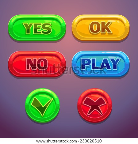 Buttons with yes, no, OK, play check marks. Isolated elements for web or game design - stock vector