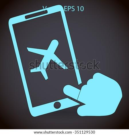 buy a plane ticket through the mobile app vector icon - stock vector