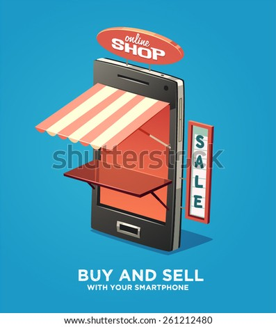 Buy and sell with your smartphone. Vector illustration. - stock vector