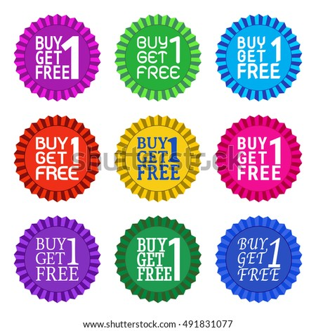 Buy 1 Get 1 Free on many awards styles with many bright color and many fonts easy to edit for mix and match, EPS10 Vector Illustration
