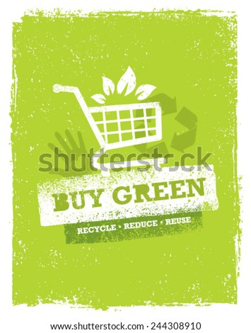 Buy Green Eco Shopping Cart. Organic Food Nature Friendly Vector Concept  - stock vector
