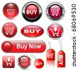 Buy icons buttons set, vector illustration. - stock photo