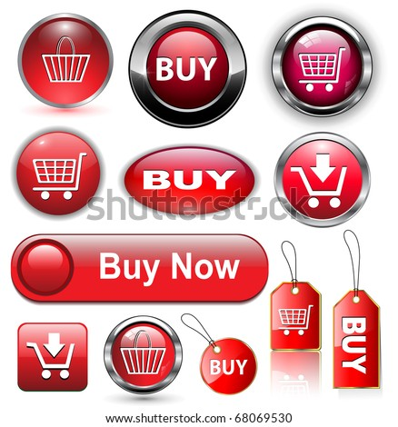 Buy icons buttons set, vector illustration. - stock vector
