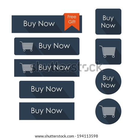 Buy now buttons set. Flat design with long shadow. Vector illustration - stock vector