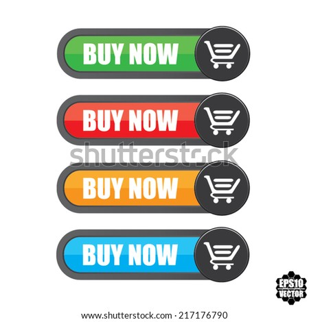 Buy Now colorful Set of modern e-commerce buttons and icons. Vector. - stock vector