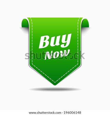 Buy Now Green Label Icon Vector Design - stock vector