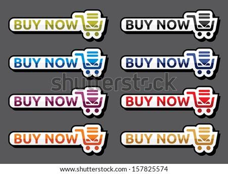 Buy now icon set - stock vector