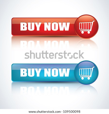 Buy now - Realistic glossy button - stock vector