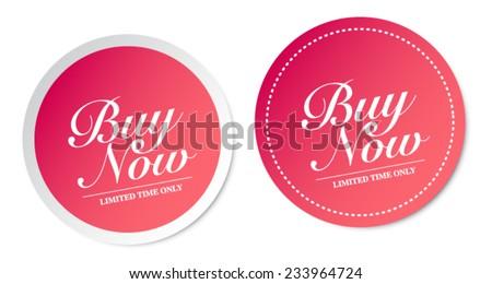 Buy now stickers - stock vector