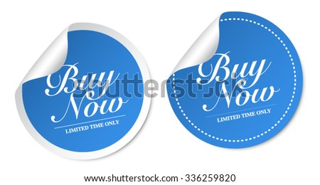 Buy now stickers - stock vector