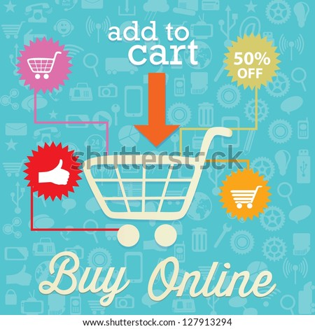 Buy Online (add to cart) On blue background. Vector - stock vector
