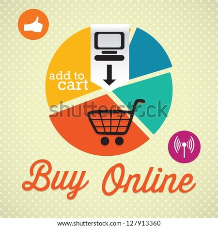 Buy Online (add to cart), Retro colors (Pie Graph). On vintage background - stock vector