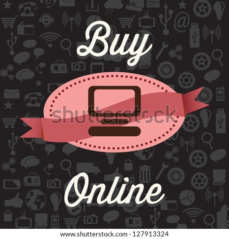 Buy Online, on black background with Icons. Vector - stock vector