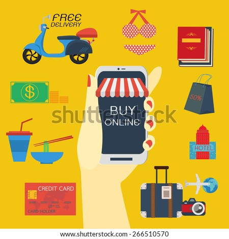 Buy online on cell phone. - stock vector