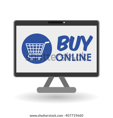 Buy online over white background, computer illustration