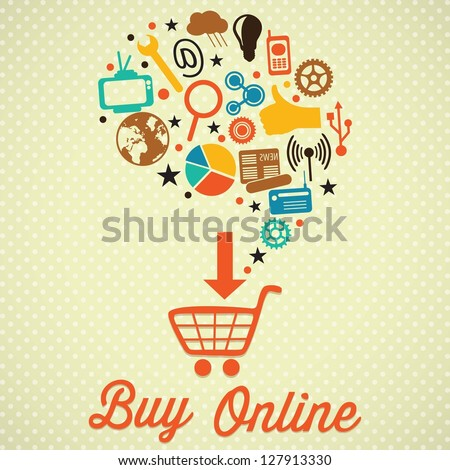 Buy Online Retro colors icons. On vintage background - stock vector