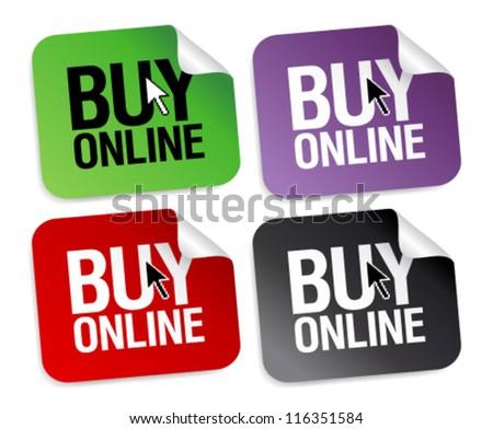 Buy online stickers set. - stock vector