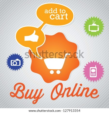 Buy Online text bubble with cart for shopping. Vector Illustration - stock vector