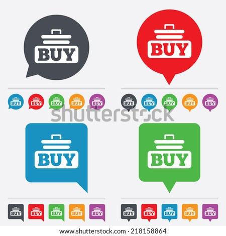 Buy sign icon. Online buying cart button. Speech bubbles information icons. 24 colored buttons. Vector - stock vector