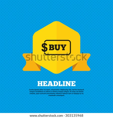 Buy sign icon. Online buying dollar usd button. Yellow label tag. Circles seamless pattern on back. Vector - stock vector