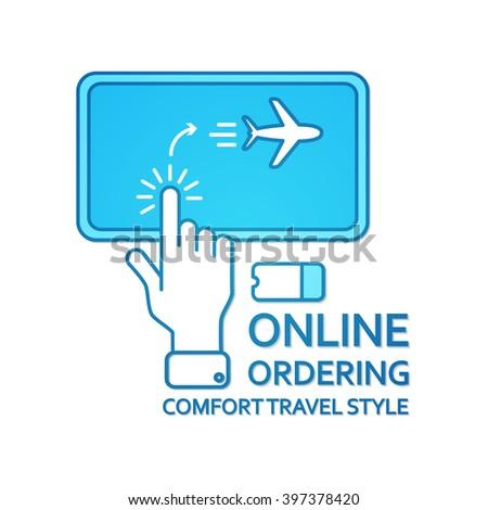 Buy Ticket Online. Online Ordering. Transport Concept. Vector illustration - stock vector