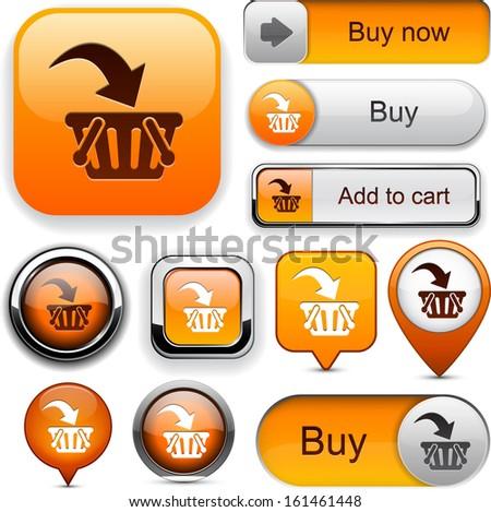 Buy web orange buttons for website or app. Vector eps10.  - stock vector