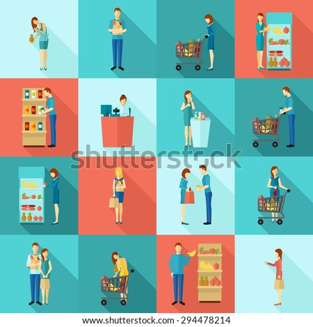 Buyers and customers human shopping and billing scene flat color long shadow icon set isolated vector illustration - stock vector