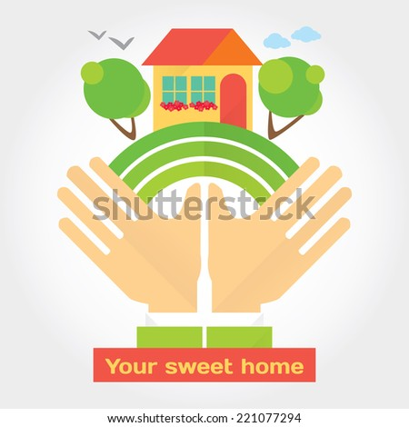 Buying a house of your dream modern flat illustration. Vector stylish design element - stock vector
