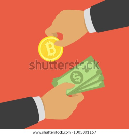 Buying bitcoin with cash. Cryptocurrency, business technology, bitcoin exchange concept. First Hand holding bitcoin and second hand hold dollars. Vector illustration EPS 10.