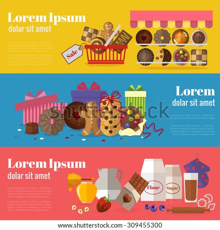Buying cookies, biscuits gift and baking cookies banners. Sweet design, chocolate and snack product. Vector illustration - stock vector