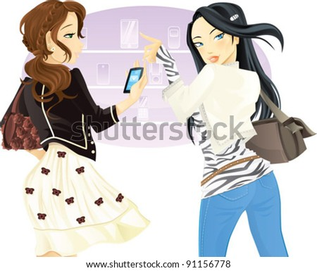 Buying phone - Two girl friends doing shopping - stock vector