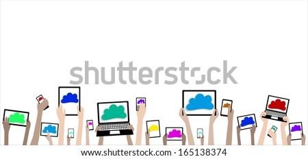 BYOD Bring Your Own Device Cloud Computing Banner - Children Hands with Computers and Clouds - stock vector