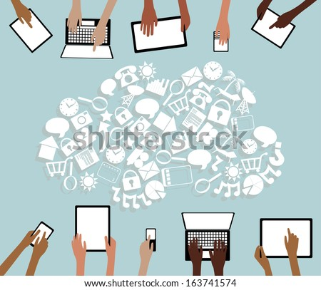 BYOD Bring your own Device Tablets Icon Cloud and Hands grouped and layered  - stock vector