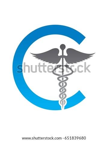 C Caduceus Medical Logo Stock Vector 651839680 Shutterstock