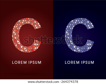 C ,Colorful font, concept mosaic pattern, graphic, vector.