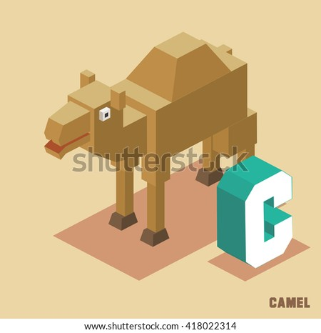 C for Camel Animal Alphabet collection. vector illustration - stock vector