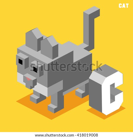 C for cat, Animal Alphabet collection. vector illustration - stock vector