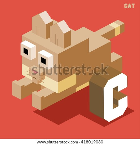 C for cat. Animal Alphabet collection. vector illustration - stock vector