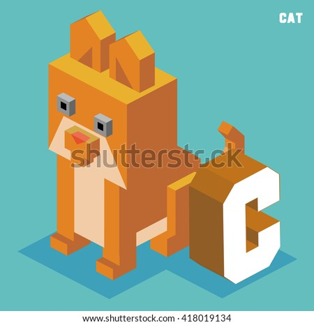 C for cat, Animal Alphabet collection. vector illustration