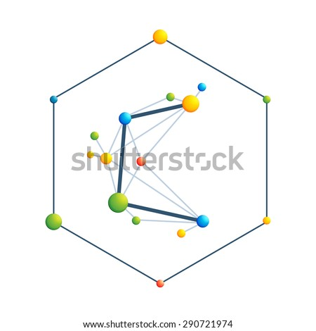 C letter. Abstract colorful molecular vector logo template in hexagon. Chemical, medical and another scientific symbol.  - stock vector