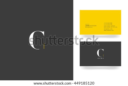 C Letter Logo, Icon, with Business Card Template Vector